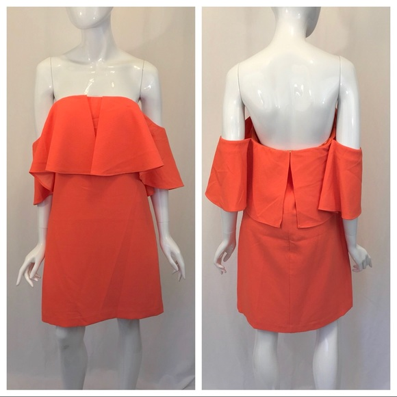 Trina Turk Dresses & Skirts - Trina Turk Bright Orange Off the Shoulder Dress
